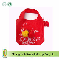 Folding Red Color Portable Promotion Polyester Rose Shopping Bag