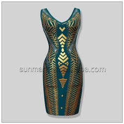 2016 New Arrival Rayon Knitted Sexy Green Bandage Dress Party Dress 2241