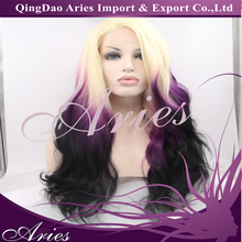 stock Synthetic Lace Front Wig Heat Resistant Kanekalon Hair Ombre Natural Color Wavy Wig