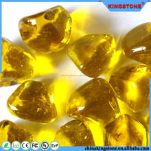 Amazing quality yellow glass pebble gems for fire pit,landscaping stone pebble rock,small river pebble