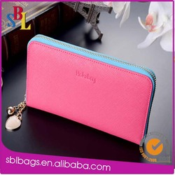 2014 RFID zipper around brands leather women wallets China wholesale, ladies purses