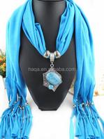 Jewel stone pendant scarf necklace jewelry solid color with mental scarf jewelry pendant scarf