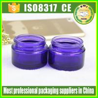 Nature blue glass cream jar/green glass jar 50Ml , glass jar with screw top lid