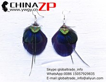 China ZP wholesale DIY plumage crafts top class Mini Purple and green Peacock Feather Boho Earrings for lady