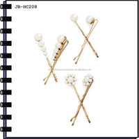 2014 Fashion Metal Hair Grips With Beads And Rhinstones