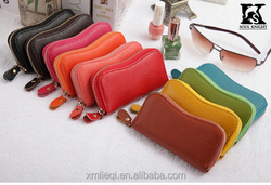 SK-9006 popular leather key case with round zipper closure wholesale