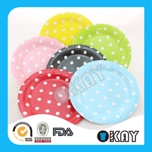 2015 Party Supplies Colorful Polka Dot Paper Plates For Birthday Day