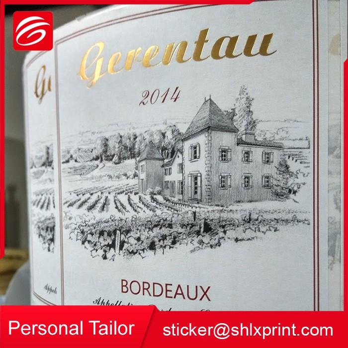 Rolo personalizado Garrafa de Vinho Impressão de Etiquetas Auto-adesivas