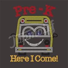 Pre-K Here I Come Glitter Transfer Motif School Bus Rhinestone Ornaments