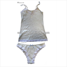 Young Girls Cotton Top&Brief Set Exquisite Lace Decoration