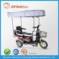 china producer water proof 48v 500w 3 wheel electric adult tricycle with cover