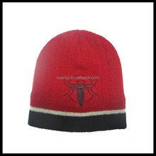 Women and Men Plain Knit Cap Cold Winter Cuff Beanie with embroider logo