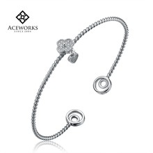 Wholesale Flower Twisted Braid 925 Sterling Silver and Zircon Bangle