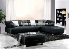 estilo europeu mobiliário clássico e moderno em forma de l sofá de couro preto