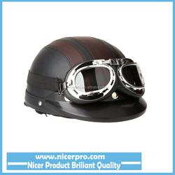 Men Women Motorcycle Helmet Bike Bicycle Helmet Scooter Open Face Half Leather Helmet with Visor Goggles Retro