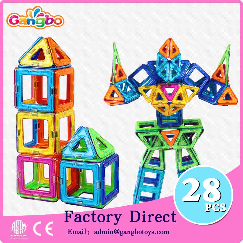 28 pcs Gangbo usine en gros magnétique jouets blocs de construction magformers jouet