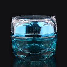 blue color coating empty glass cosmetic 30g 50g cream jar for skin care producr packaging