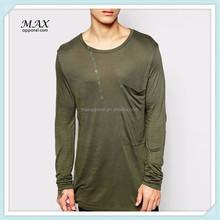 Custom Olive Green Mens Longline Long Sleeve Cotton Oversized O-neck T-shirt Men