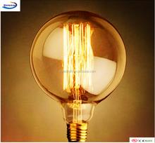 vintage Edison bulb lamp light amber shell brass base