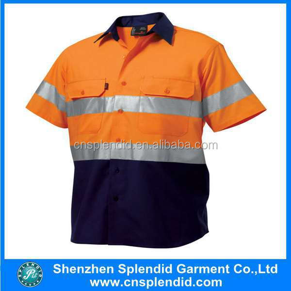 Short sleeve 3m reflective tape hi vis safety shirt for Hi vis shirts with reflective tape