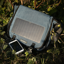 6.5W/6V solar powered hiking/camping Canvas solar bag in blue/brown color