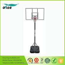 Gray 10' basketball stand with gray glass board