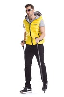 2015 new warm yellow hooded vest white duck down zip coat for aurtome winter outwear