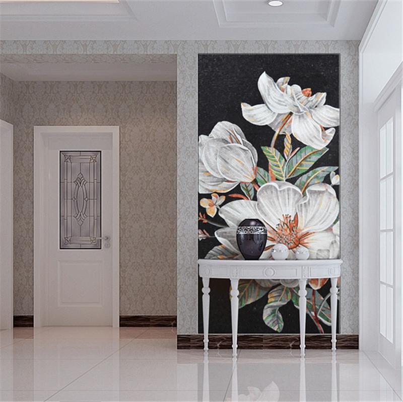 Ztclj jy jh bj01 a kitchen backsplash handmade flower for Decorative tile mural