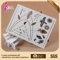 Glitter customized metallic temporary tattoo for promotion gifts