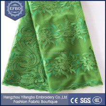 Fashion ladies dress material wholesalers African net / Latest design tulle lace army green cord lace with stones