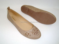 2015 New collection lady cheap ballerina shoes flats beige PU shoes cut out flower ballet shoes