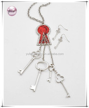 Silvertone Metal / Clear Accents / Red Flower Print / Lead&nickel Compliant / Key Charms / Long Necklace & Fish Hook Earring Set