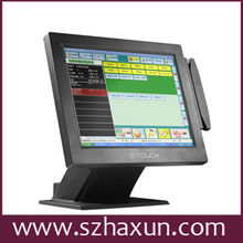 """15"""" Restaurant dual touchscreen POS terminal, Intel atom dual core All in one POS System 1.86GHz, Linux or Windows POS machine"""