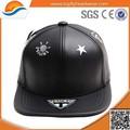 Barato y de alta calidad de cuero negro gorra de béisbol/libre snapback hat/de imitación de cuero tapa snapback