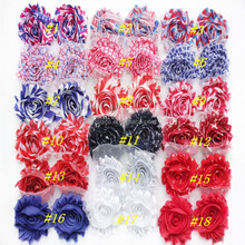 "Patriotic Day,2.5"" Vintage Baby Shabby Flower Headbands/Chiffon Shabby Flowers"