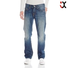 2015 mens straight leg jeans relaxed mild abrasions scratch jeans JXQ1087