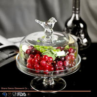 Sanzo Custom Glassware Manufacturer crystal glas cake stand with cover