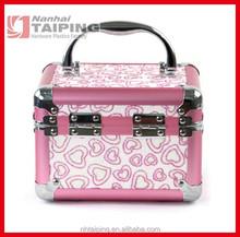 Pink PVC Beauty Case Makeup Train Case and Box