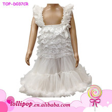 2015 Wholesale baby white color lace summer wedding party girl dress