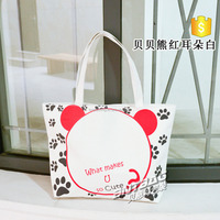 New product fashion plain white cotton canvas tote bag