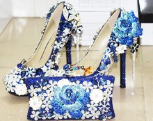 new fashion handmade royal blue wedding shoes high heels women pumps for bridal shoes and bag set