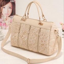 New Fashion Women's Lady Retro Lace Designer PU Leather Handbag Tote Crossbody Shoulder Lace Bags Wholesale