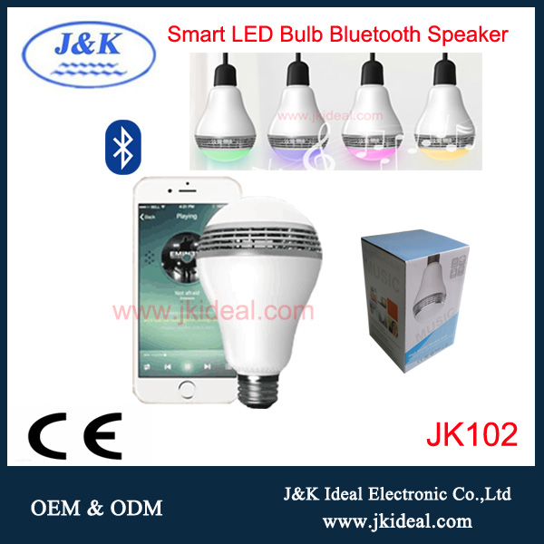 JK102 Smart LED Ampoule Lampe Bluetooth Haut-Parleur E27 Base mp3 Sans Fil Lecteur de Musique