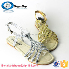 Sliver&golden color sandals braid strap sandals PVC strap sandals