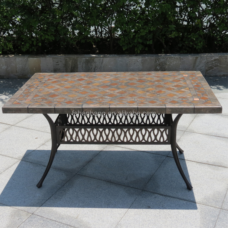Outdoor Garden Patio Terrace Deck Furniture Set Square Round Marble Mosaic Table Top  with Wrought Iron Legs