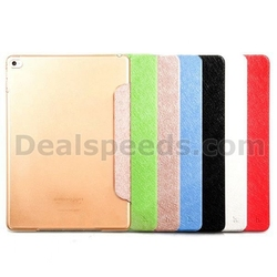 HOCO Ice Series Four-fold Flip Stand Smart Wake Sleep PC+PU Leather Case for iPad Air 2