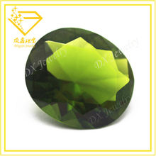 2015 hot sale bright synthetic oval cut olive peridot gemstone in bulk Made in China