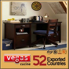 Black solid wood folding study table and chair