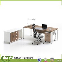 Steel leg wood executive office table