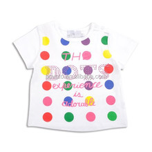 O-neck white printed children t shirt